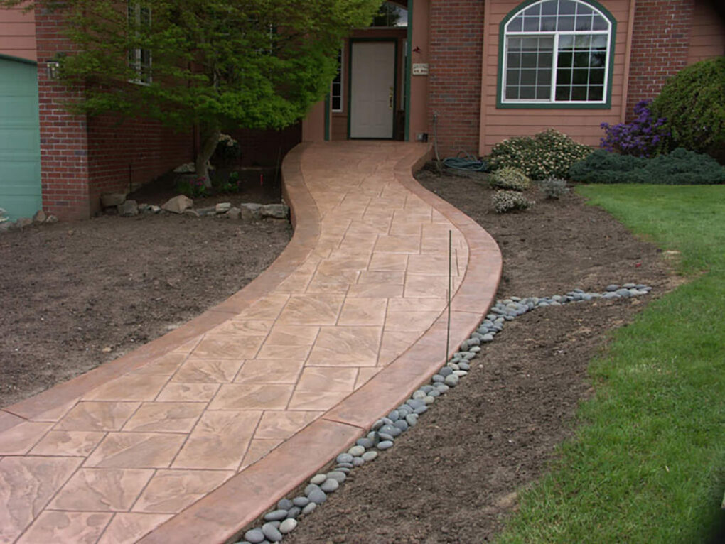 Stamped concrete entry path