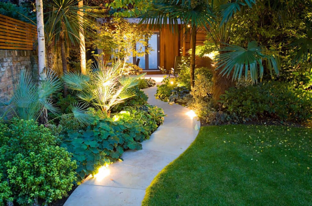 Backyard concrete path