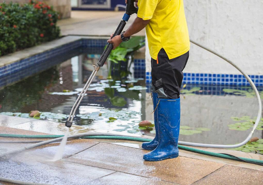 Concrete contractor pressure washing algae gwc decorative concrete
