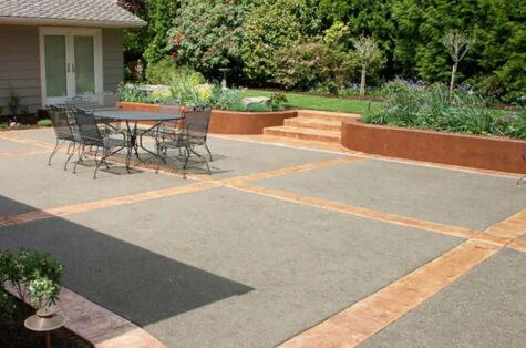 Pressure washed concrete patio