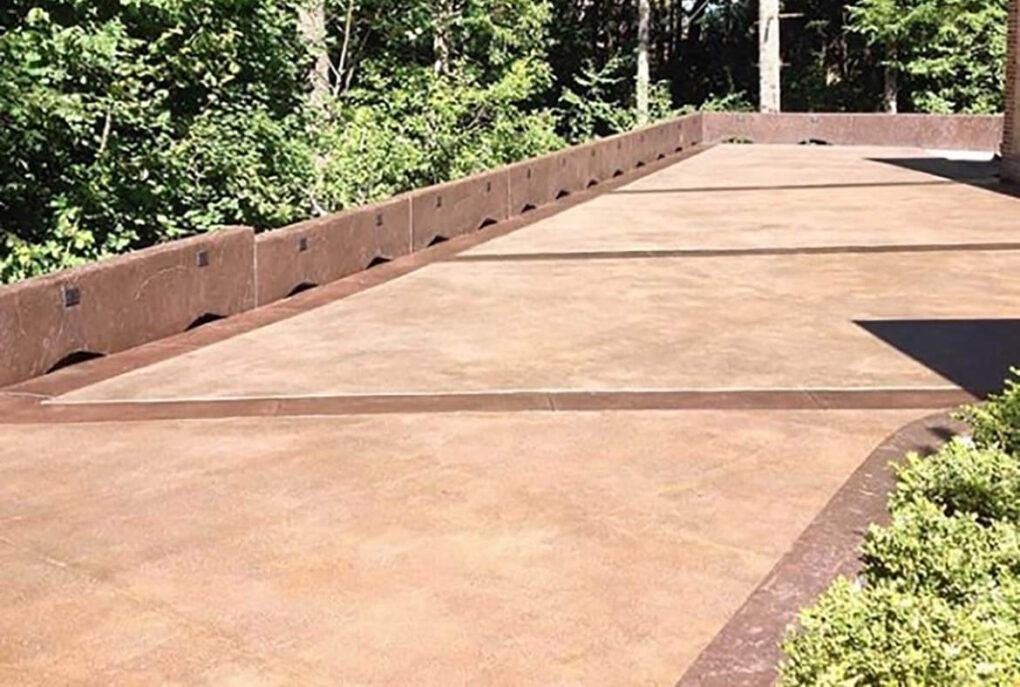 Brown concrete driveway