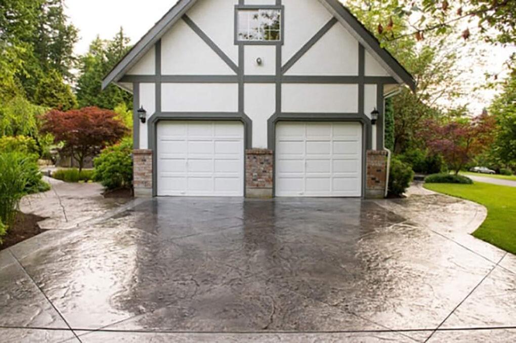 Concrete two car driveway