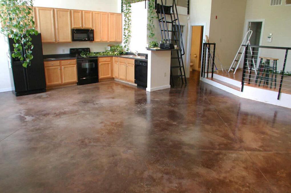 Stained concrete kitchen floor