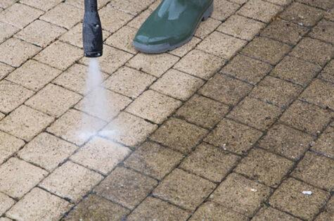Pressure washing concrete