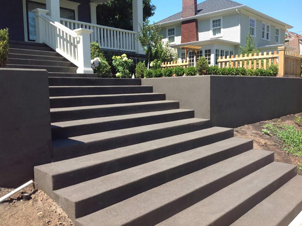 Sand finish concrete steps