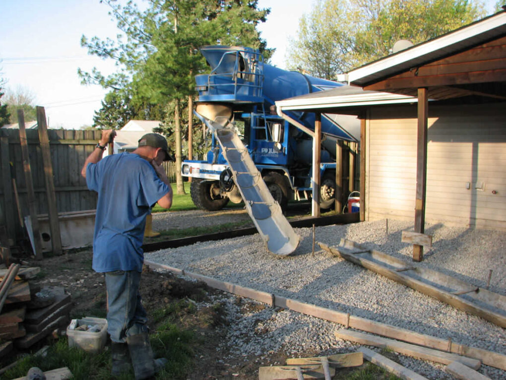 Pouring exposed aggregate concrete patio