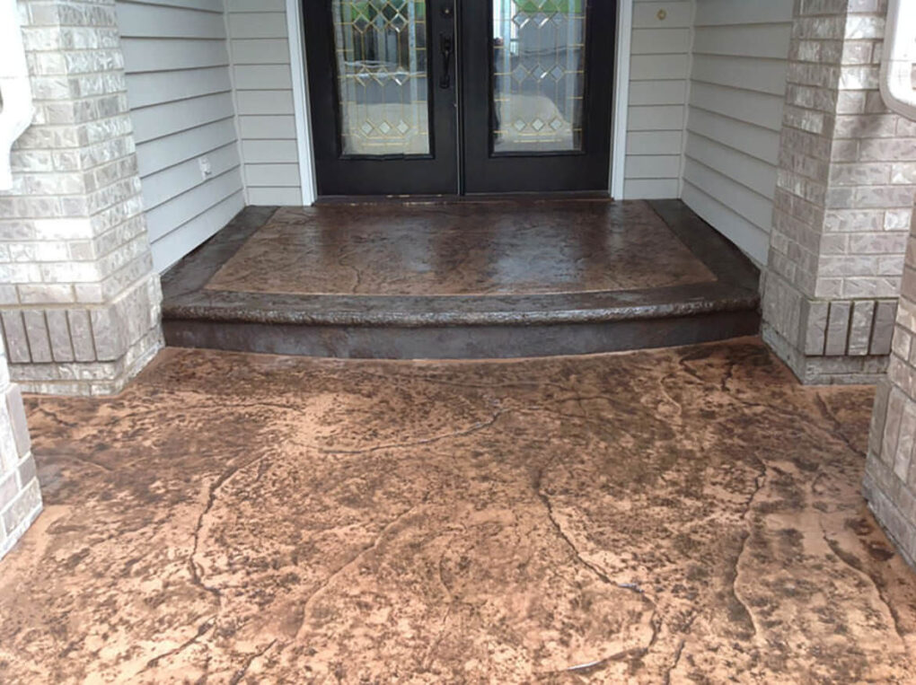 Stamped concrete color step patio