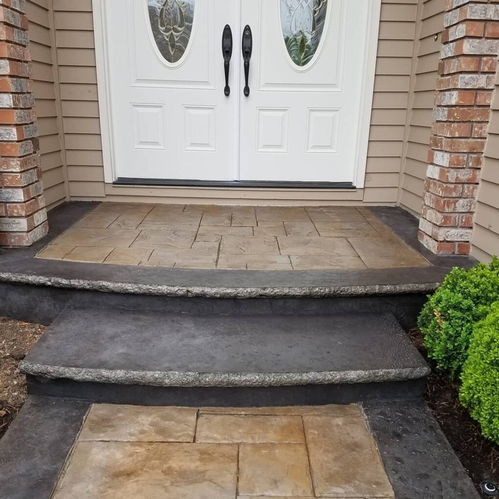 Stamped concrete stairs entry