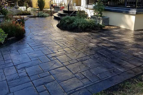 Stamped sealed concrete entry
