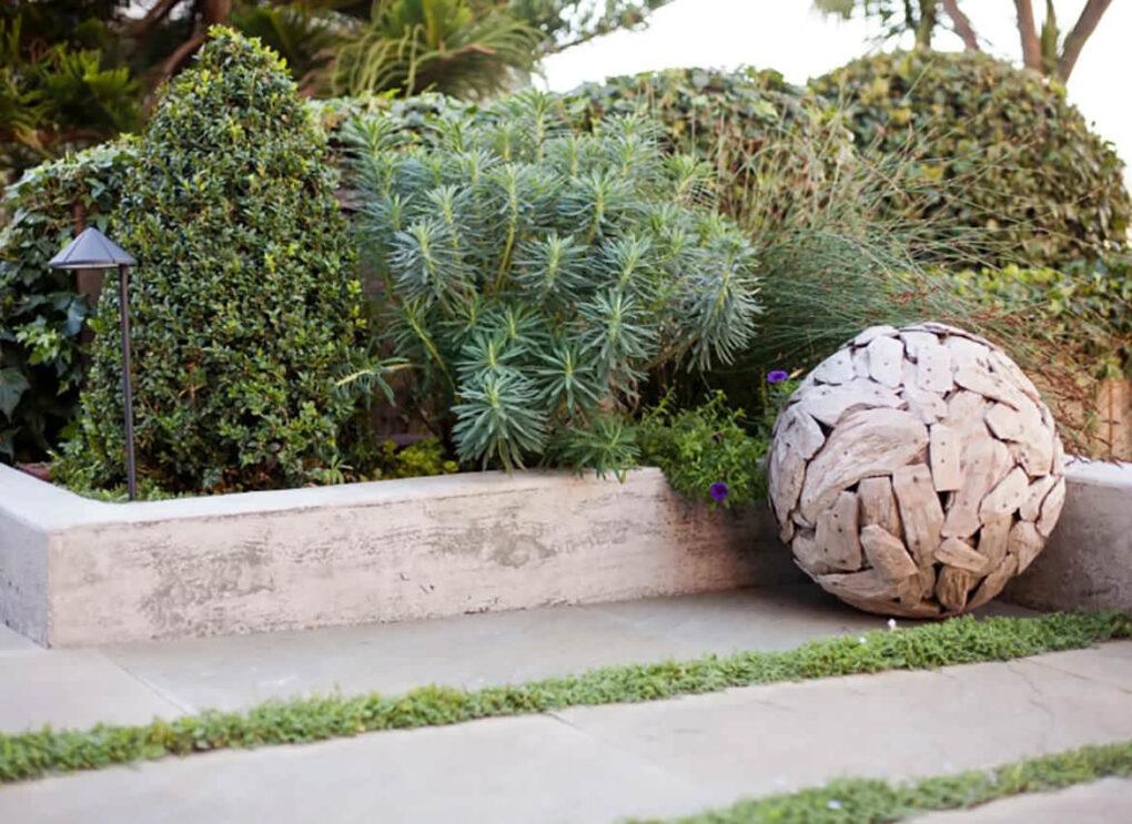 Xeriscape concrete edge backyard