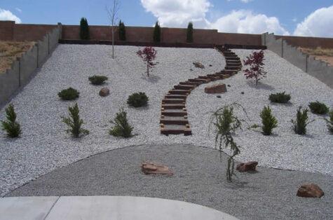 Xeriscape backyard concrete