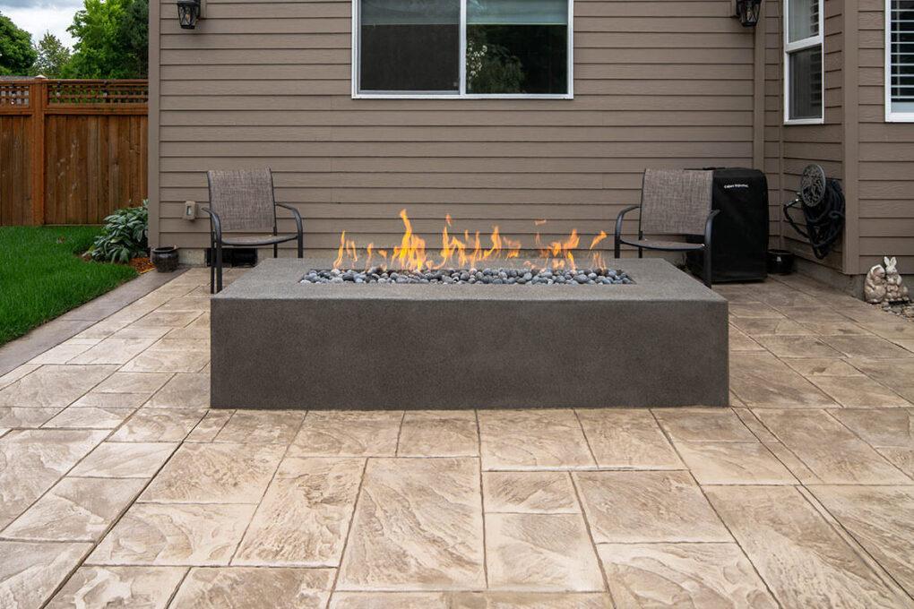 3 wilsonville stamped concrete firepit sand finish
