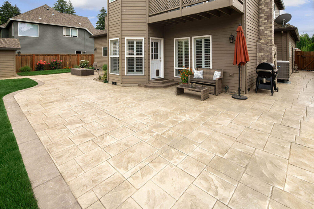 8 wilsonville stamped patio oyster white color hardener