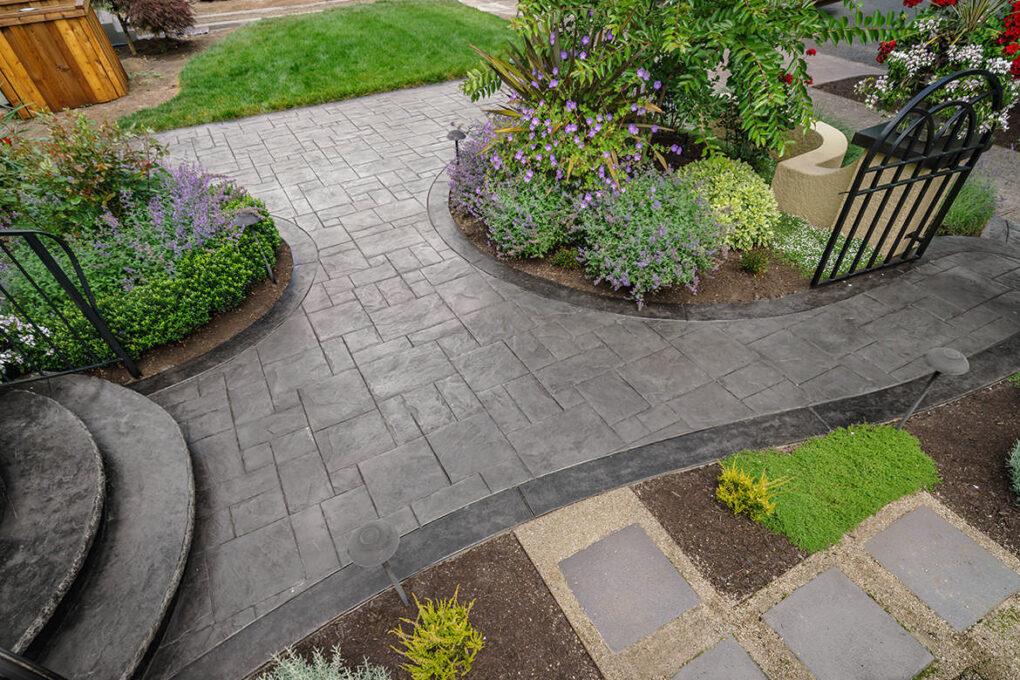 6 grant park stamped concrete planter beds